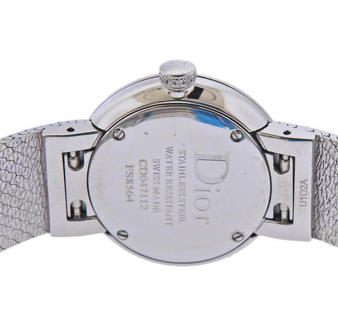 image of Dior La D de Dior Diamond Black Dial Satine Watch CD047112M003