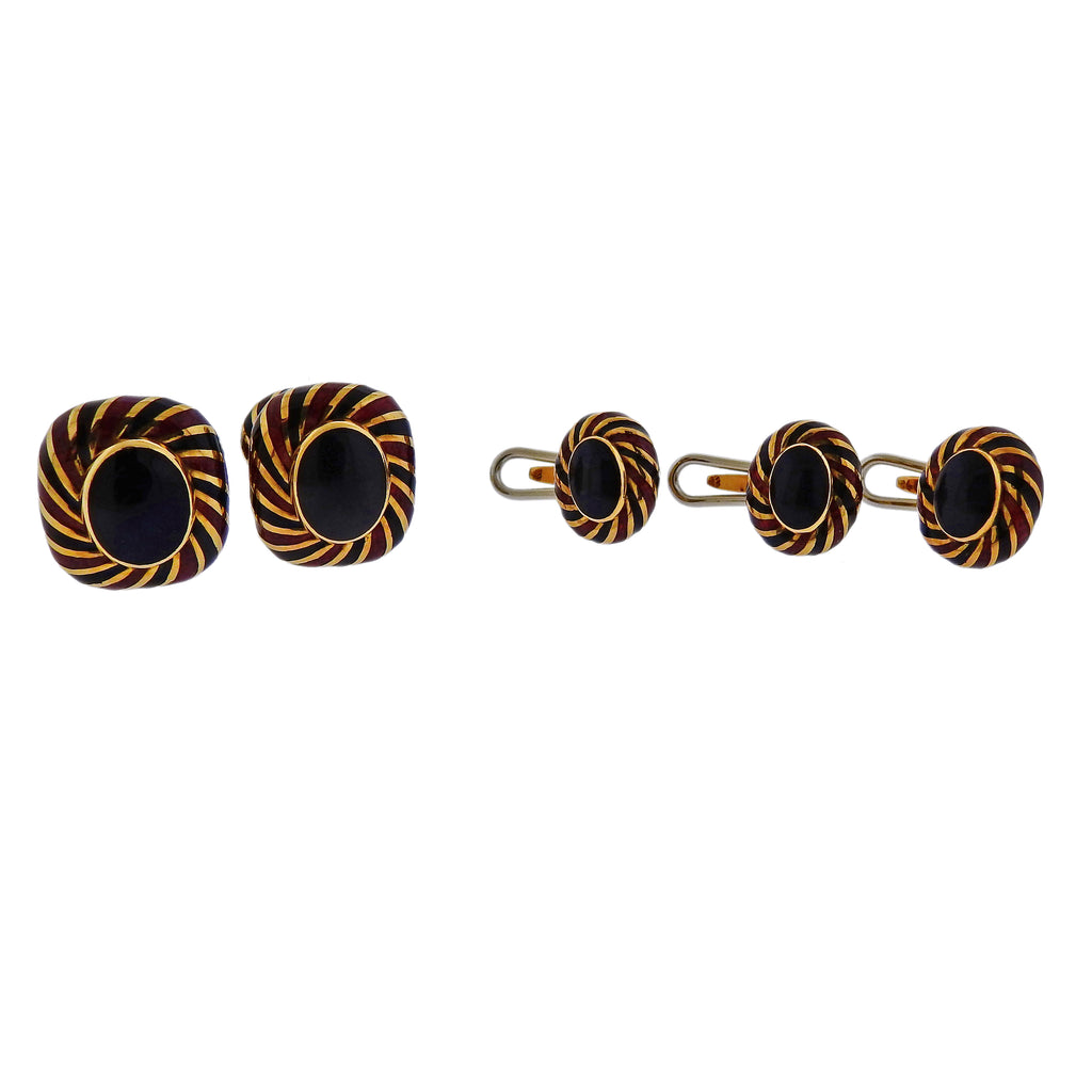 thumbnail image of David Webb Enamel Gold Cufflinks Stud Set