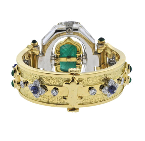 image of David Webb One of a Kind Emerald Diamond Sapphire Platinum Gold Bracelet
