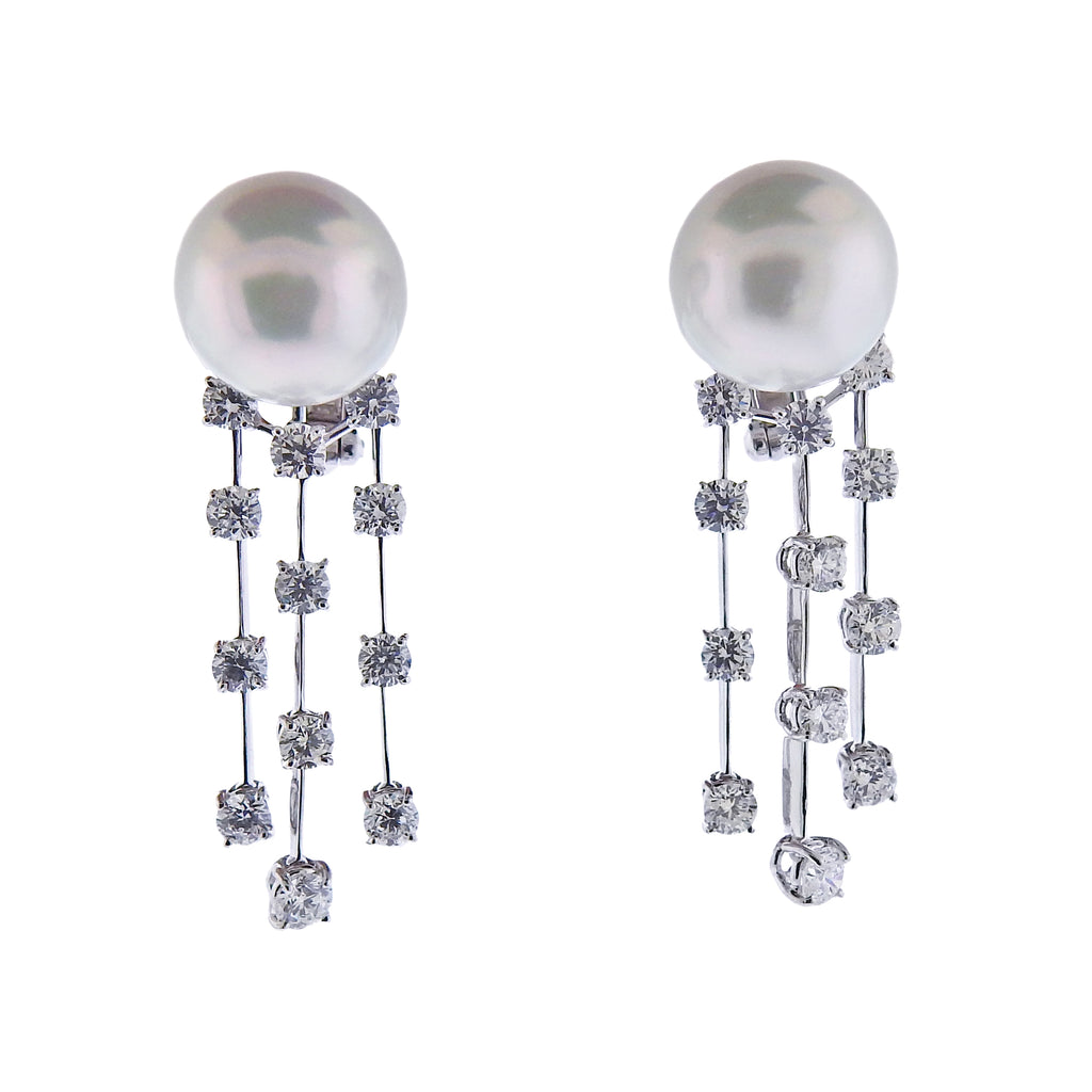 thumbnail image of Assael Diamond South Sea Pearl Gold Drop Earrings