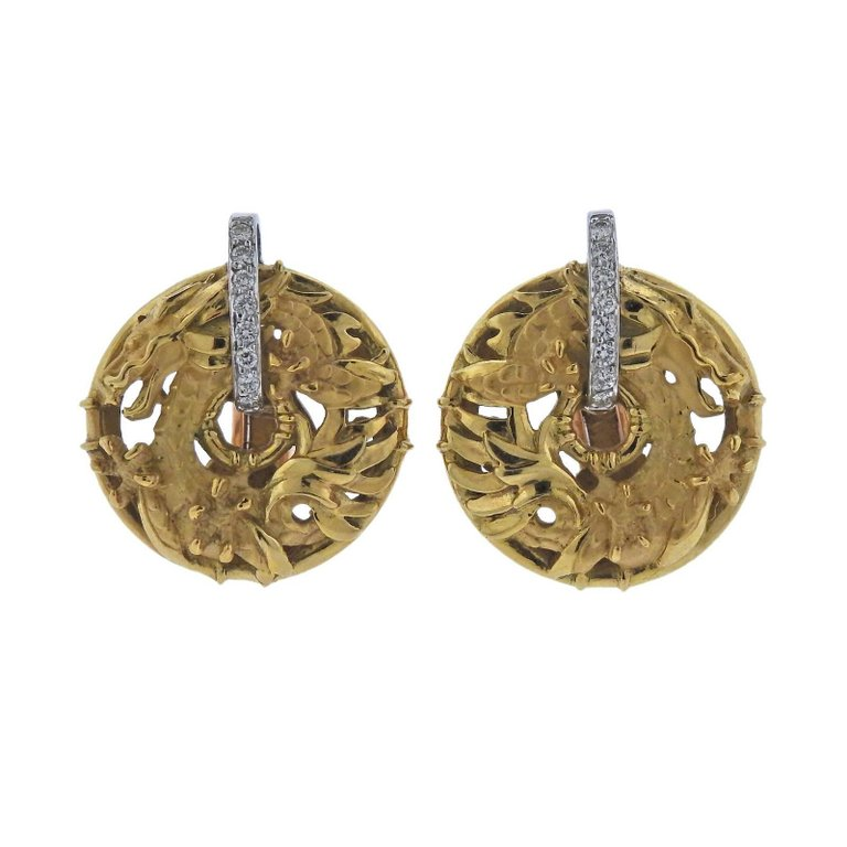 thumbnail image of Carrera Y Carrera Shanghai Diamond Gold Earrings