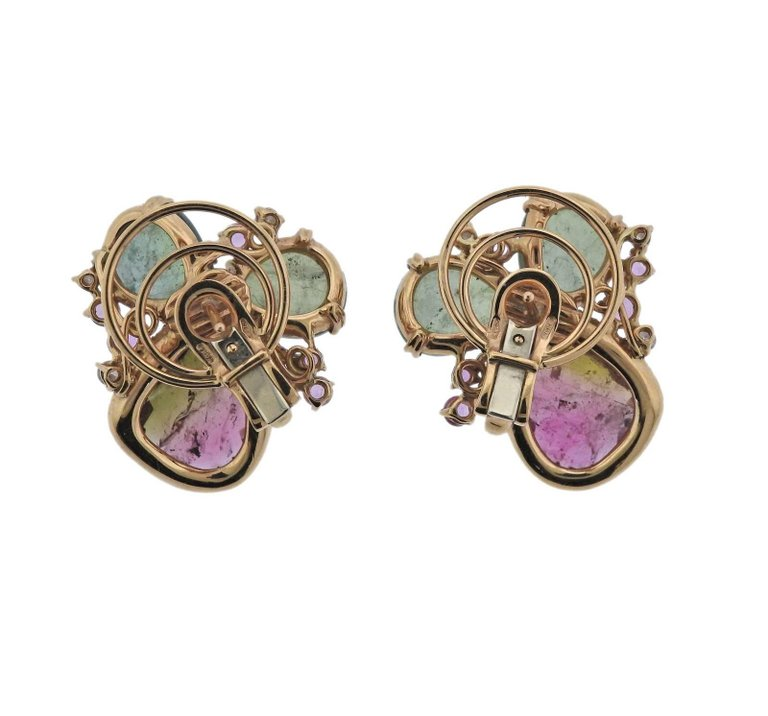 thumbnail image of Tourmaline Diamond Gold Earrings
