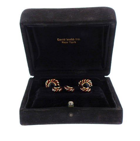 image of David Webb Enamel Gold Cufflinks Stud Set