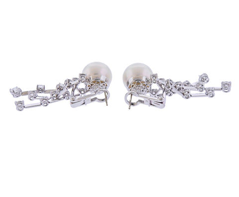 image of Assael Diamond South Sea Pearl Gold Drop Earrings