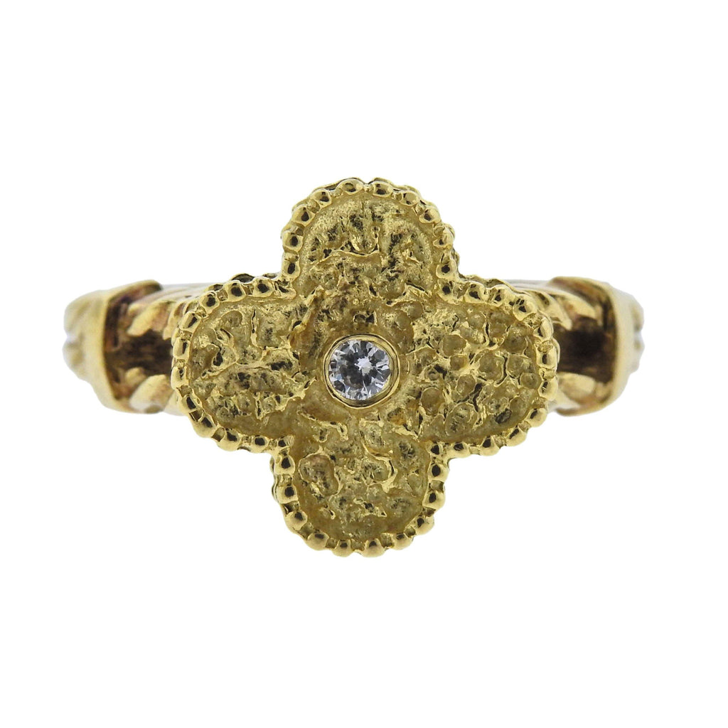 thumbnail image of Van Cleef & Arpels Vintage Alhambra Diamond Gold Ring