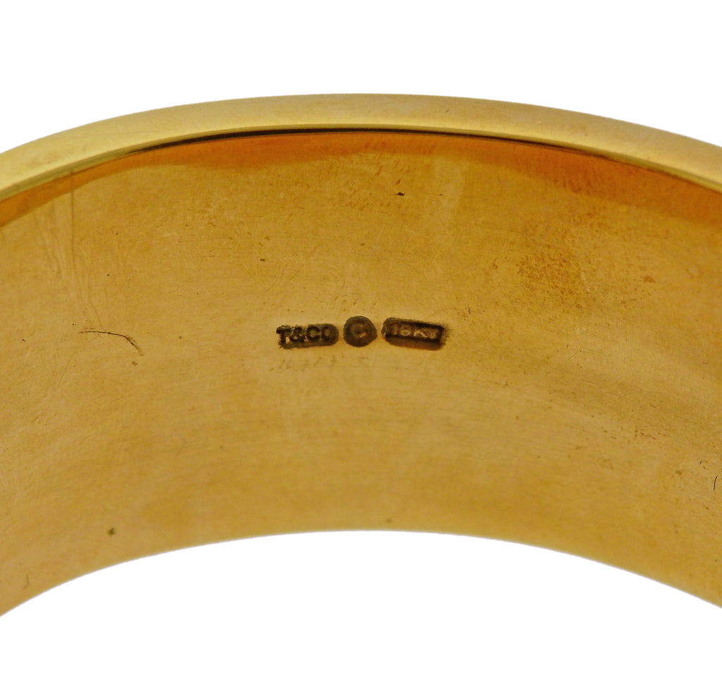 thumbnail image of Tiffany & Co Inlay Gemstone Gold Bangle Bracelet