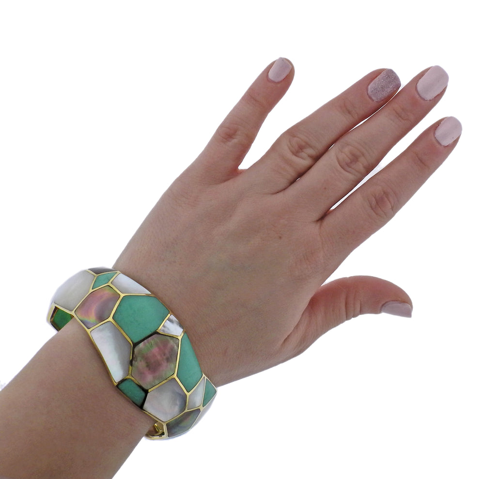 thumbnail image of Ippolita Rock Candy Deco Pisa Chrysoprase Gold Bracelet