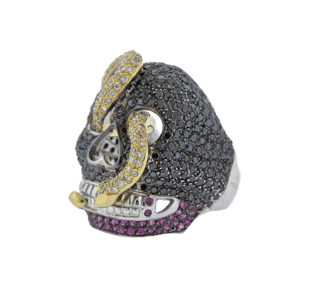 thumbnail image of Alp Sagnak Diamond Black Spinel Ruby Gold Skull Ring