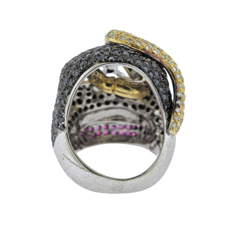 image of Alp Sagnak Diamond Black Spinel Ruby Gold Skull Ring