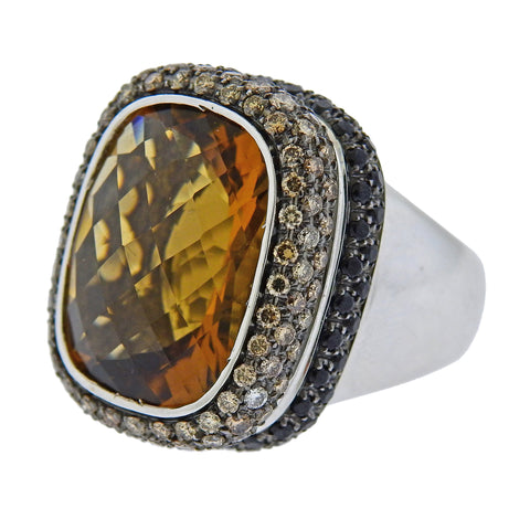image of Roberto Coin Fancy Diamond Black Sapphire Citrine Gold Ring