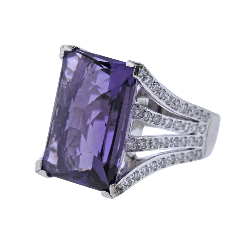thumbnail image of Platinum Diamond 15.45ct Amethyst Cocktail Ring
