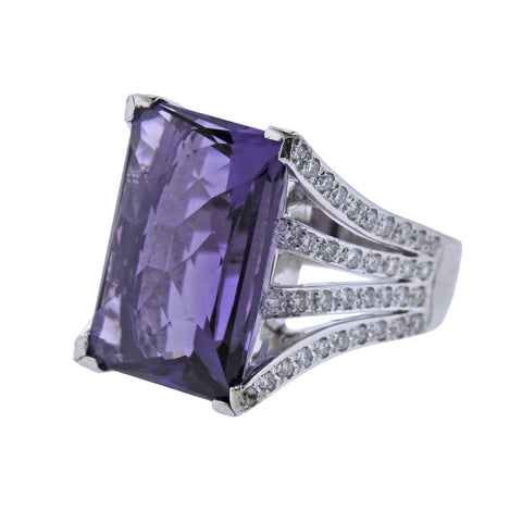image of Platinum Diamond 15.45ct Amethyst Cocktail Ring