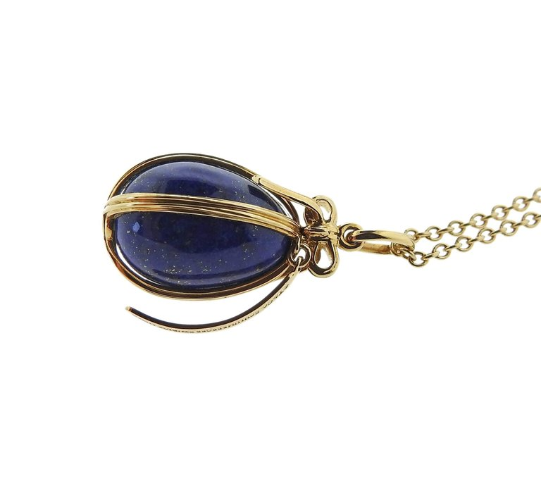 thumbnail image of Tiffany & Co. Schlumberger Lapis Gold Egg Charm Necklace