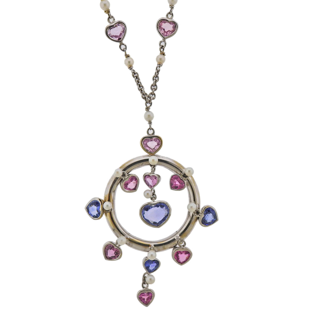 thumbnail image of Prince Dimitri 8.66ctw Pink Blue Sapphire Pearl Gold Pendant Necklace