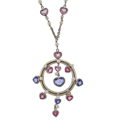 image of Prince Dimitri 8.66ctw Pink Blue Sapphire Pearl Gold Pendant Necklace