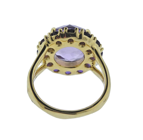 image of Ippolita Lollipop Amethyst 18k Gold Flower Ring