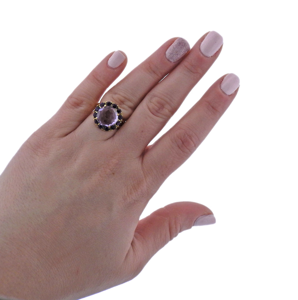 thumbnail image of Ippolita Lollipop Amethyst 18k Gold Flower Ring