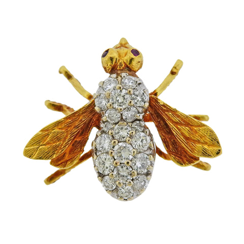 image of Herbert Rosenthal Gold Diamond Ruby Bee Brooch Pin