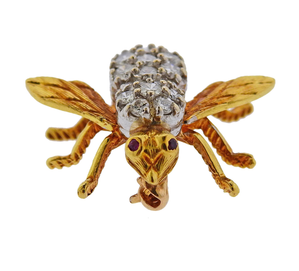 thumbnail image of Herbert Rosenthal Gold Diamond Ruby Bee Brooch Pin