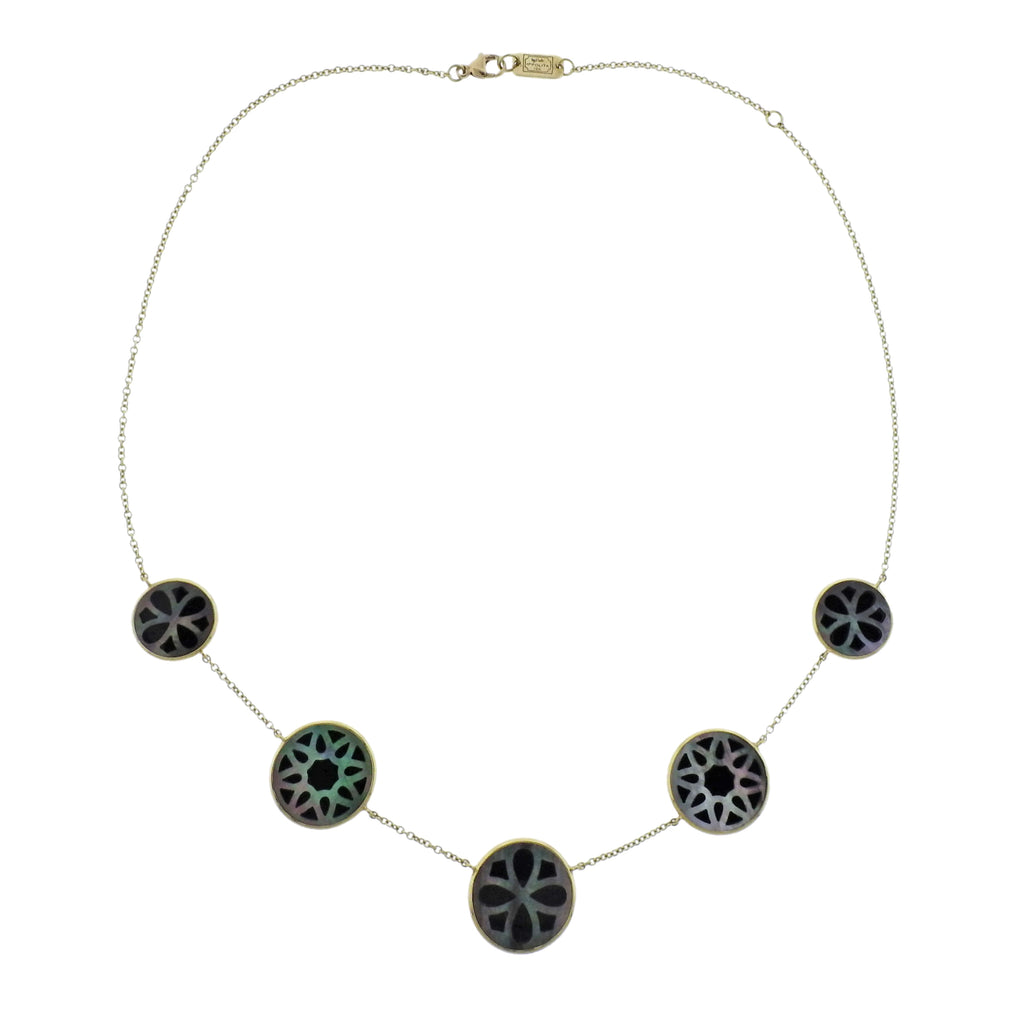 thumbnail image of Ippolita Rock Candy Phantom Onyx Shell 18k Gold Station Necklace