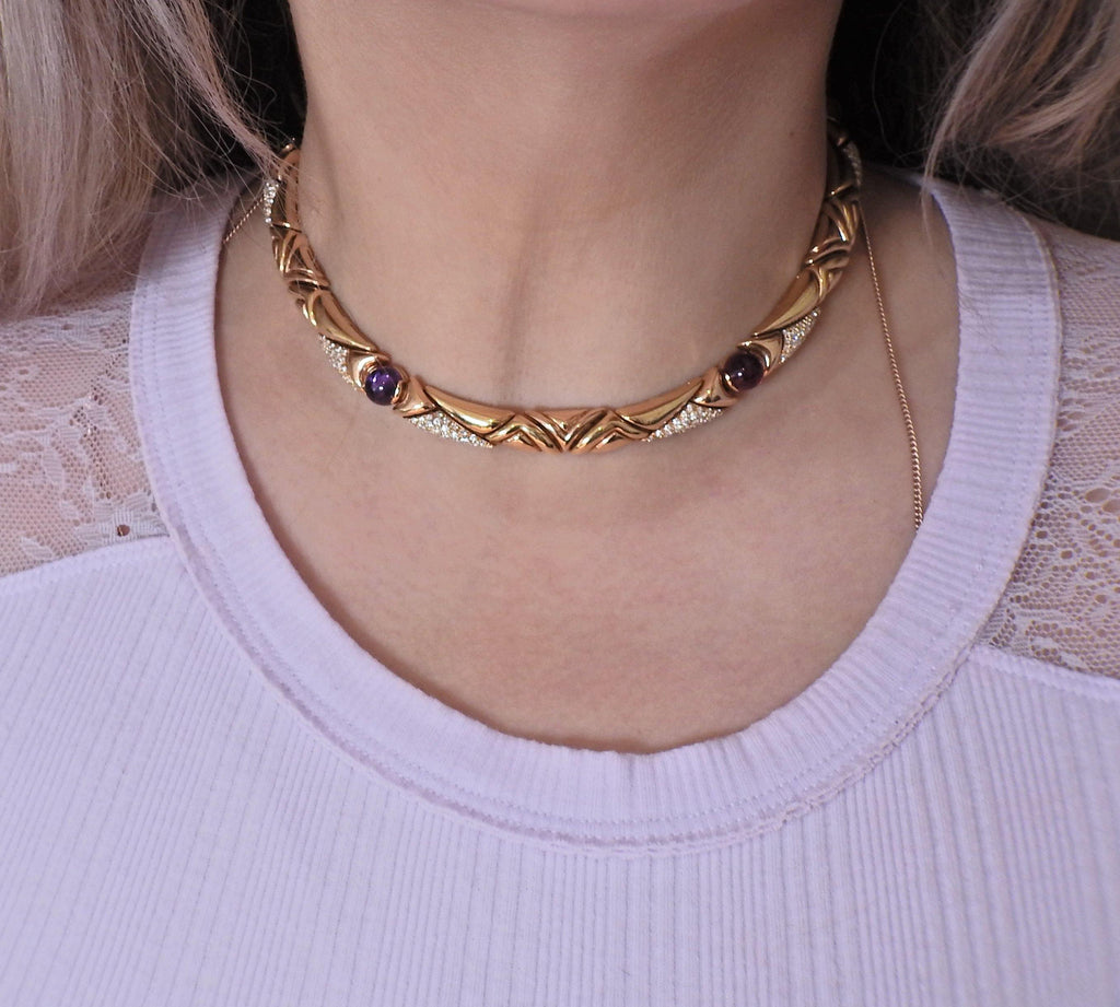thumbnail image of Bulgari Diamond Amethyst Tourmaline Citrine 18k Gold Necklace