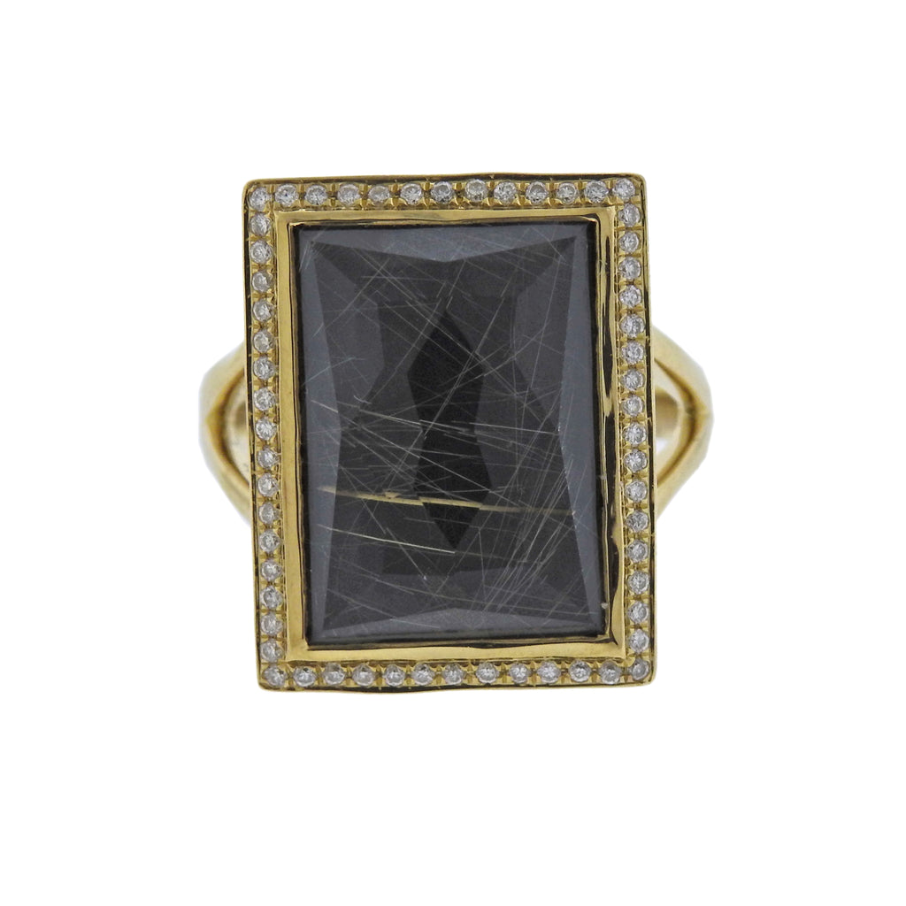 thumbnail image of Ippolita Gelato Rutilated Quartz Hematite Diamond 18k Gold Ring