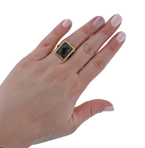 image of Ippolita Gelato Rutilated Quartz Hematite Diamond 18k Gold Ring