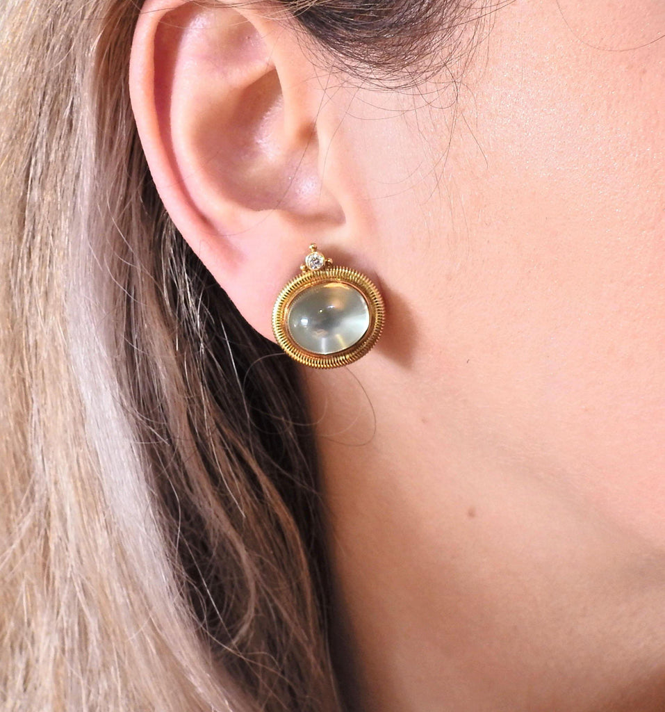 thumbnail image of Elizabeth Gage Persian Queen Aquamarine Diamond 18k Gold Earrings