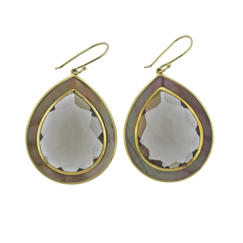 image of Ippolita Ondine Smokey Quartz Shell Teardrop 18k Gold Earrings