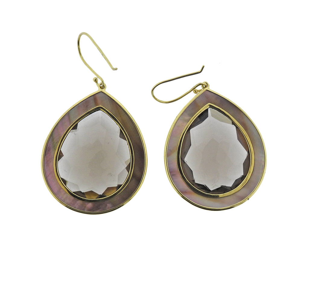 thumbnail image of Ippolita Ondine Smokey Quartz Shell Teardrop 18k Gold Earrings