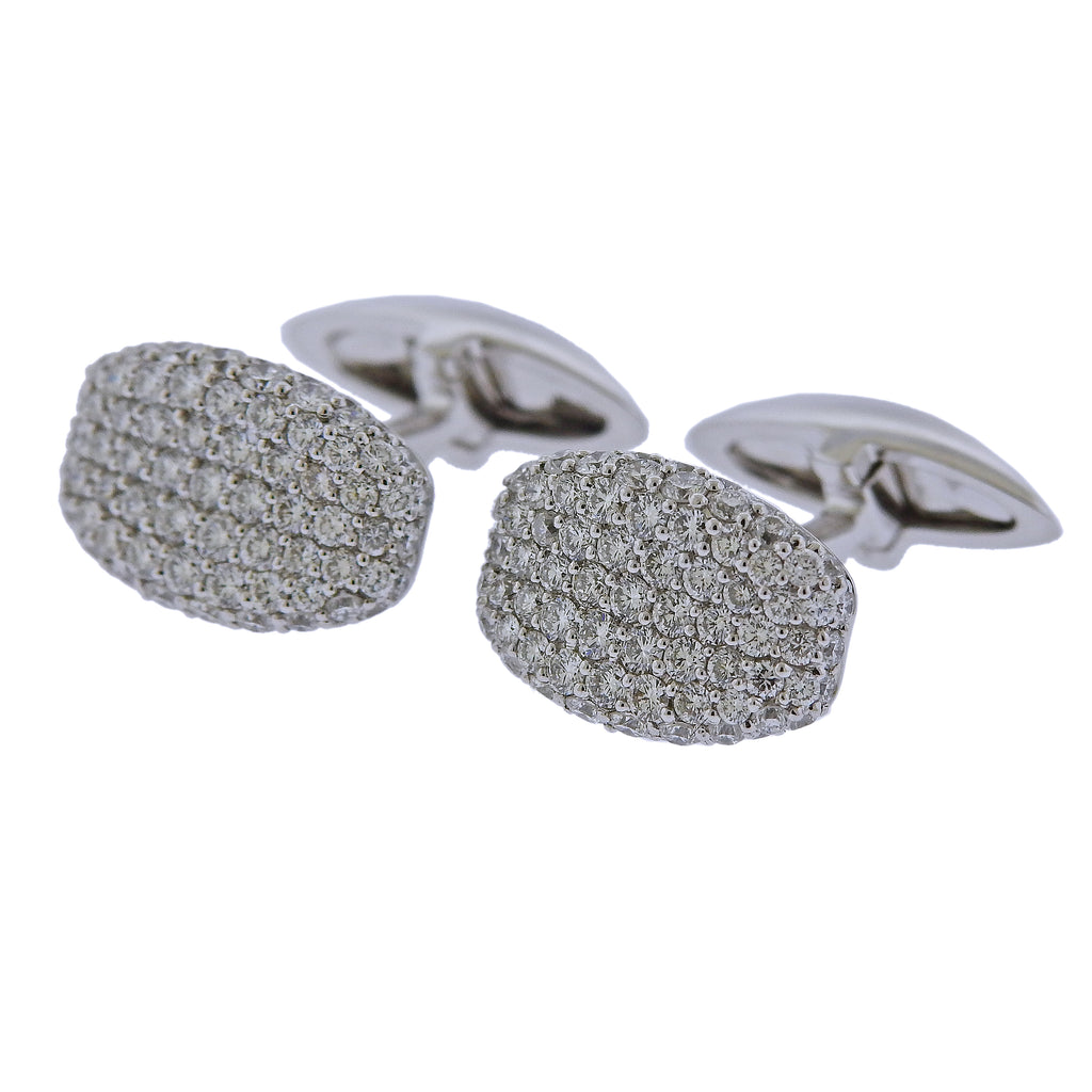 thumbnail image of Roberto Coin Diamond Gold Cufflinks