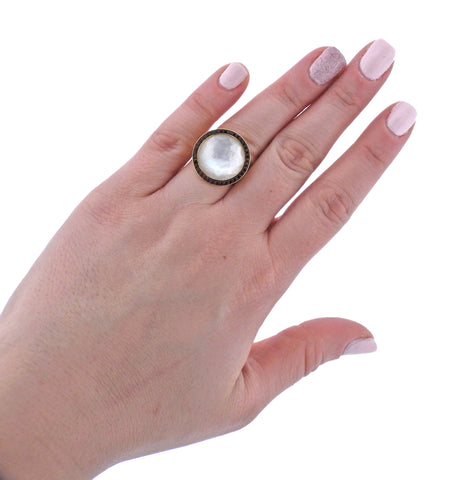 image of Ippolita Lollipop Garnet Mother of Pearl 18k Gold Ring