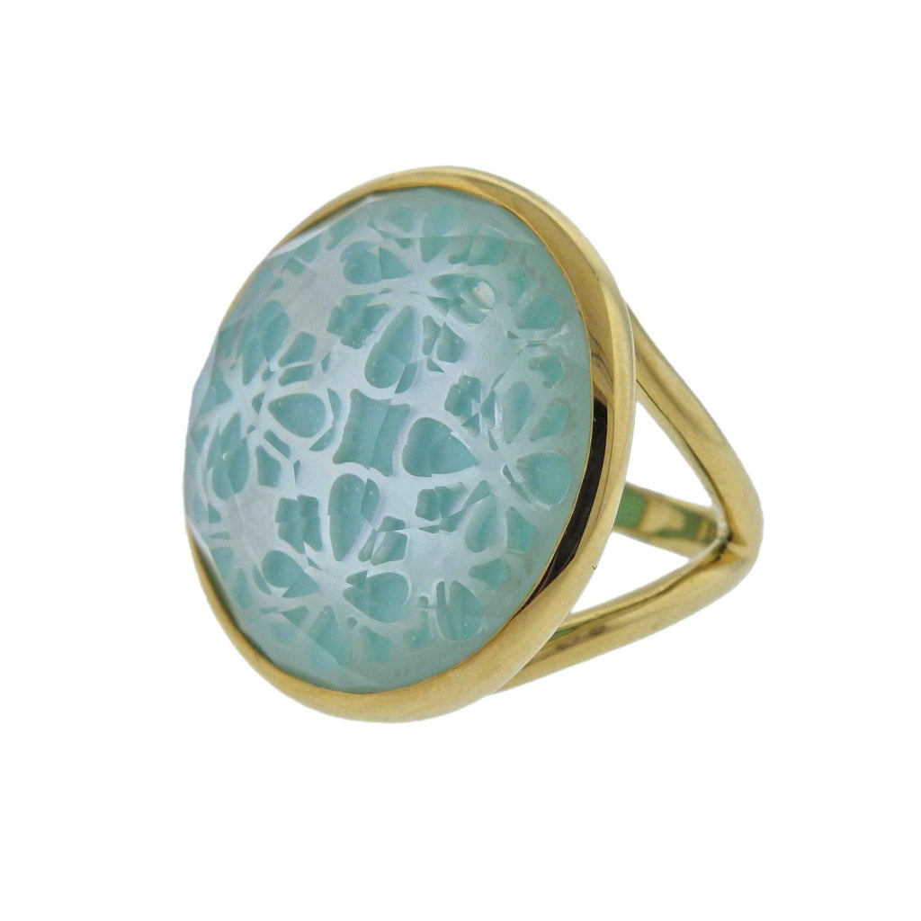 thumbnail image of Ippolita Rock Candy Turquoise Shell Quartz Phantom 18k Gold Ring