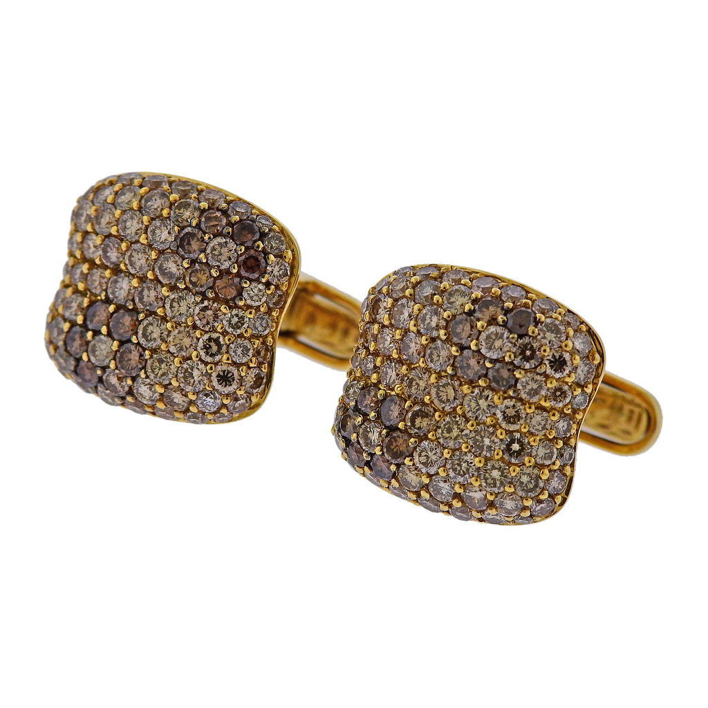 thumbnail image of Roberto Coin Fancy Diamond Gold Cufflinks