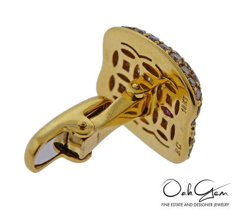 image of Roberto Coin Fancy Diamond Gold Cufflinks