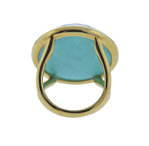 image of Ippolita Gelato Isola Turquoise Quartz Cutout 18k Gold Ring