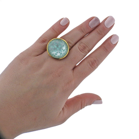 image of Ippolita Rock Candy Turquoise Shell Quartz Phantom 18k Gold Ring