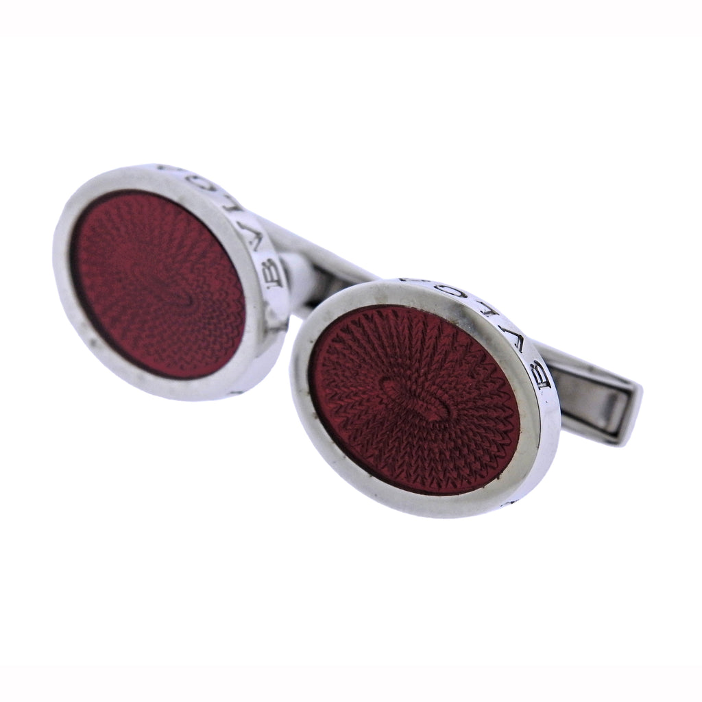 thumbnail image of Bulgari Red Enamel Sterling Silver Oval Cufflinks