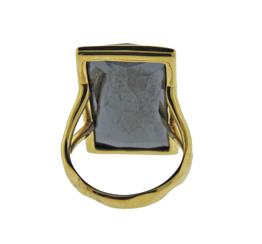 thumbnail image of Ippolita Gelato Rutilated Quartz Hematite 18k Gold Ring