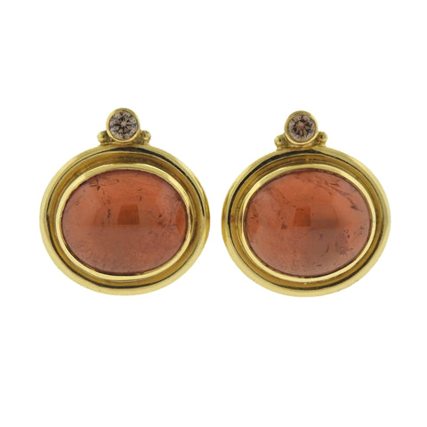 image of Elizabeth Gage Persian Queen Amber Diamond 18k Gold Earrings