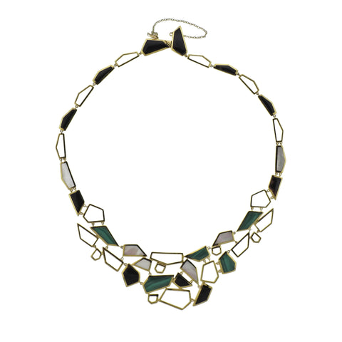 image of Ippolita Rock Candy Onyx Malachite 18k Gold Bib Necklace