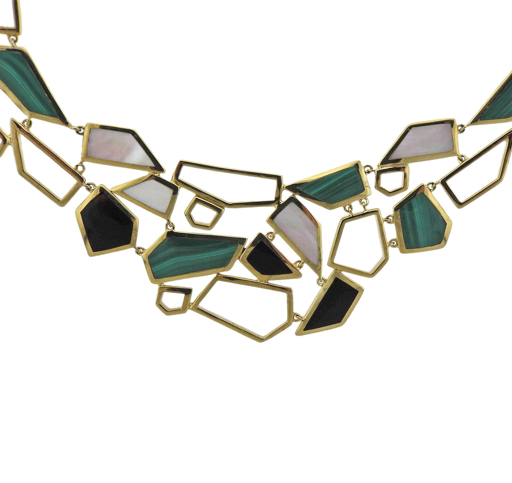 thumbnail image of Ippolita Rock Candy Onyx Malachite 18k Gold Bib Necklace