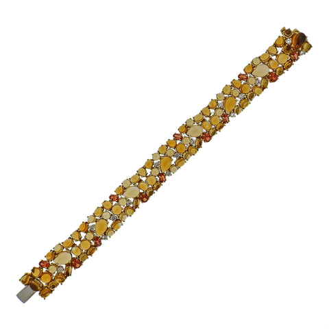 image of Roberto Coin Diamond Orange Sapphire Citrine Gold Bracelet