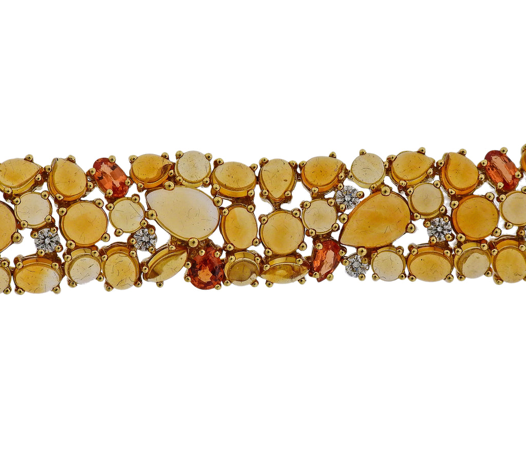 thumbnail image of Roberto Coin Diamond Orange Sapphire Citrine Gold Bracelet