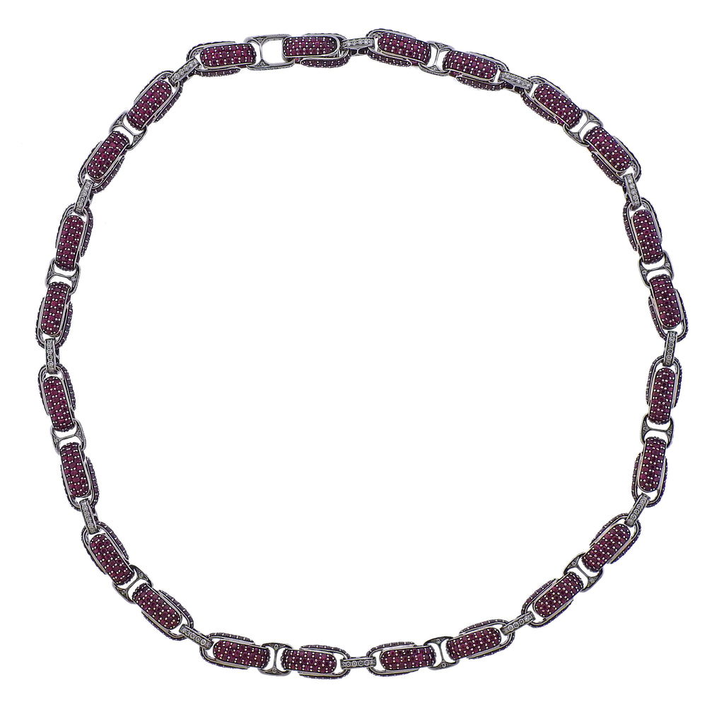 thumbnail image of Roberto Coin Fantasia Ruby Diamond Link Necklace