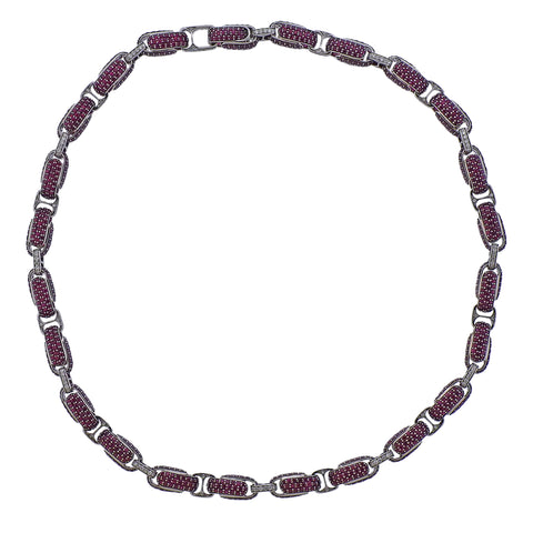 image of Roberto Coin Fantasia Ruby Diamond Link Necklace