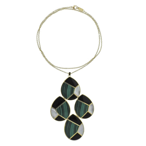 image of Ippolita Mosaic Malachite Onyx Large Pendant 18k Gold Necklace