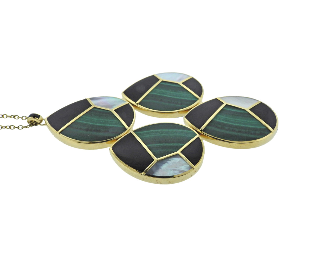 thumbnail image of Ippolita Mosaic Malachite Onyx Large Pendant 18k Gold Necklace