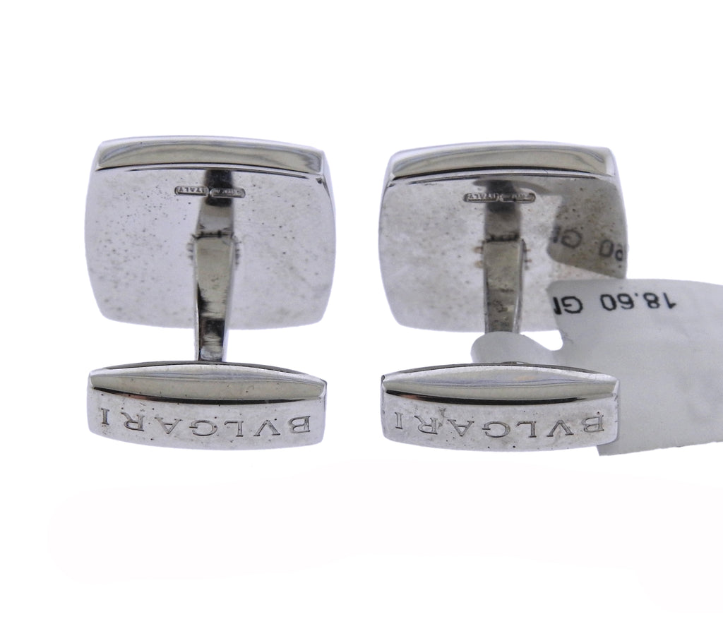 thumbnail image of Bulgari Sterling Silver Onyx Cushion Cufflinks