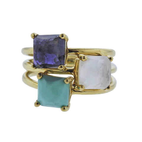 image of Ippolita Rock Candy Turquoise Iolite Mother of Pearl 18k Gold Ring